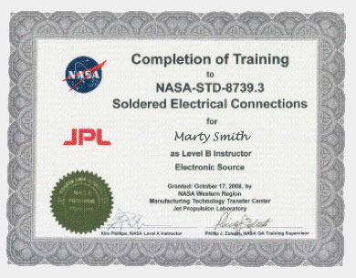 NASA Certification NASA-STD-8739.3